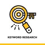 Γραμμικό ερευνητικό εικονίδιο λέξης κλειδιού για την επιχείρηση ξεκινήματος Εικονόγραμμα στο ύφος περιλήψεων Διανυσματικό επίπεδο Στοκ Φωτογραφίες