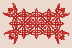 Γραμμικό κόκκινο σχέδιο με να συμπλέξει Στοκ Φωτογραφία