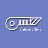 Γραμμικό λογότυπο για το κατάστημα χαρτικών διανυσματική απεικόνιση