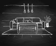 Γραμμικό σκίτσο ενός εσωτερικού στον πίνακα κιμωλίας Σχέδιο δωματίων επίσης corel σύρετε το διάνυσμα απεικόνισης στοκ εικόνες