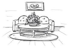 Γραμμικό σκίτσο ενός εσωτερικού Σχέδιο δωματίων επίσης corel σύρετε το διάνυσμα απεικόνισης Στοκ Εικόνες