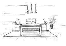 Γραμμικό σκίτσο ενός εσωτερικού Σχέδιο δωματίων επίσης corel σύρετε το διάνυσμα απεικόνισης Στοκ φωτογραφίες με δικαίωμα ελεύθερης χρήσης