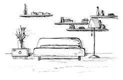 Γραμμικό σκίτσο ενός εσωτερικού Σχέδιο δωματίων επίσης corel σύρετε το διάνυσμα απεικόνισης Στοκ εικόνα με δικαίωμα ελεύθερης χρήσης