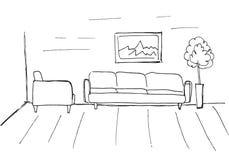 Γραμμικό σκίτσο ενός εσωτερικού Σχέδιο δωματίων Στοκ φωτογραφίες με δικαίωμα ελεύθερης χρήσης