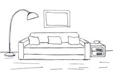 Γραμμικό σκίτσο ενός εσωτερικού Σχέδιο δωματίων Στοκ Φωτογραφία