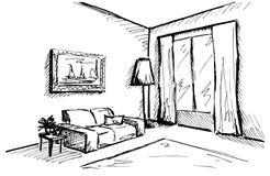 Γραμμικό σκίτσο ενός εσωτερικού Σχέδιο δωματίων επίσης corel σύρετε το διάνυσμα απεικόνισης Στοκ Φωτογραφία