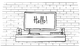 Γραμμικό σκίτσο του εσωτερικού Κομμό με τη TV και τα ράφια επίσης corel σύρετε το διάνυσμα απεικόνισης Στοκ Φωτογραφίες