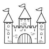 Γραμμικό σχέδιο κινούμενων σχεδίων του Castle, χρωματισμός, περίληψη, περίγραμμα, απλό σκίτσο, γραπτή διανυσματική απεικόνιση Συρ απεικόνιση αποθεμάτων