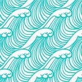 Γραμμικό σχέδιο στο τροπικό μπλε aqua με τα κύματα διανυσματική απεικόνιση