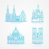 Γραμμικό σύνολο icion Παγκοσμίως διάσημος καθεδρικός ναός Ορόσημα της Ευρώπης Παρίσι Μόσχα Ρώμη και Κολωνία διανυσματική απεικόνιση