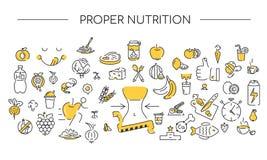 Γραμμικό υπόβαθρο εικονιδίων Κατάλληλη διατροφή Υγιή εικονίδια καθορισμένα Σύσταση τρόπου ζωής δύο χρώματα ελεύθερη απεικόνιση δικαιώματος