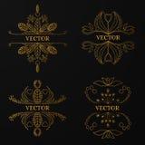 Γραμμικό χρυσό πλαίσιο στο μαύρο υπόβαθρο Πολυτέλεια διακοσμητική Στοκ Φωτογραφία