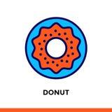 Γραμμικό DOUGHNUT εικονιδίων του αρτοποιείου, μαγείρεμα Εικονόγραμμα στο ύφος περιλήψεων Κατάλληλος για τα κινητά apps Στοκ Εικόνα
