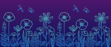 Γραμμικό floral σχέδιο Στοκ Εικόνες