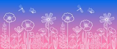 Γραμμικό floral σχέδιο Στοκ εικόνα με δικαίωμα ελεύθερης χρήσης