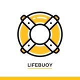 Γραμμικό lifebuoy εικονίδιο Εικονόγραμμα στο ύφος περιλήψεων στο λευκό Διανυσματικό σύγχρονο επίπεδο στοιχείο σχεδίου για το κινη Στοκ φωτογραφίες με δικαίωμα ελεύθερης χρήσης