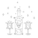 Γραμμικό minimalistic μοντέρνο εικονίδιο σαμπάνιας Στοκ Εικόνα