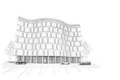 Γραμμικό multistory διαμέρισμα ή κτίριο γραφείων Στοκ Εικόνες