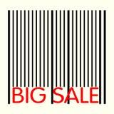 Γραμμωτός κώδικας με τη μεγάλη κόκκινη μεγάλη πώληση κειμένων Στοκ Φωτογραφία