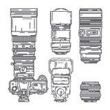 Γραμμών διανυσματικός επαγγελματικός εξοπλισμός φωτογράφων εικονιδίων καθορισμένος ψηφιακός Τέχνη φωτογραφίας Φωτογραφικό τρίποδο απεικόνιση αποθεμάτων