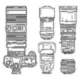 Γραμμών διανυσματικός επαγγελματικός εξοπλισμός φωτογράφων εικονιδίων καθορισμένος ψηφιακός Τέχνη φωτογραφίας Φωτογραφικό τρίποδο ελεύθερη απεικόνιση δικαιώματος