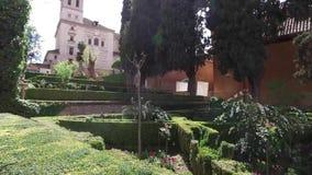 Γρανάδα, Ανδαλουσία, Ισπανία - 17 Απριλίου 2016: Alhambra και εκκλησία της Σάντα Μαρία απόθεμα βίντεο