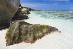 Γρανίτης και παραλία, Λα Digue, Σεϋχέλλες Στοκ εικόνες με δικαίωμα ελεύθερης χρήσης