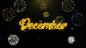 Γραπτά Δεκέμβριος χρυσά μόρια που εκρήγνυνται την επίδειξη πυροτεχνημάτων απεικόνιση αποθεμάτων