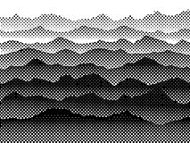 Γραπτά ημίτοά βουνά στην ομίχλη Διανυσματική ανασκόπηση απεικόνιση αποθεμάτων