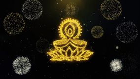 Γραπτά λαμπτήρας χρυσά μόρια Diya Deepak που εκρήγνυνται την επίδειξη πυροτεχνημάτων διανυσματική απεικόνιση