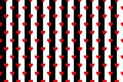 Γραπτά λωρίδες με τις κόκκινες καρδιές Στοκ Εικόνες