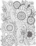 Γραπτά λουλούδια που απομονώνονται θερινά στο λευκό Αφηρημένο υπόβαθρο doodle φιαγμένο από λουλούδια και πεταλούδα Διανυσματική χ Στοκ φωτογραφία με δικαίωμα ελεύθερης χρήσης