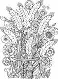 Γραπτά λουλούδια που απομονώνονται θερινά στο λευκό Αφηρημένο υπόβαθρο doodle φιαγμένο από λουλούδια και πεταλούδα Διανυσματική χ Στοκ φωτογραφίες με δικαίωμα ελεύθερης χρήσης