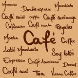 Γραπτά χέρι ονόματα καφέ Στοκ Εικόνες