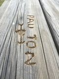 Γραπτές λέξεις σε έναν ξύλινο πίνακα Στοκ Φωτογραφία