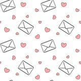 Γραπτές επιστολές ταχυδρομείου αγάπης με την κόκκινη καρδιών άνευ ραφής απεικόνιση υποβάθρου σχεδίων ρομαντική Στοκ εικόνες με δικαίωμα ελεύθερης χρήσης