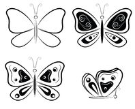 Γραπτές σκιαγραφίες πεταλούδων - διανυσματική απεικόνιση Στοκ Εικόνες