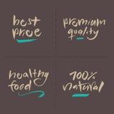 Γραπτές χέρι διανυσματικές ετικέτες τροφίμων - ασφάλιστρο τιμών αυτός Στοκ Φωτογραφία