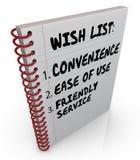 Γραπτή λίστα επιθυμητών στόχων χρήση ευκολίας ευκολίας σημειωματάριων φιλική υπηρεσία Στοκ Φωτογραφίες