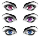 Γραπτή απεικόνιση μόδας - μάτια στο άσπρο υπόβαθρο απεικόνιση αποθεμάτων