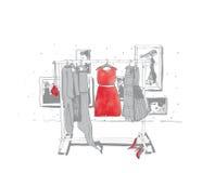 Γραπτή απεικόνιση μόδας με συρμένες τις χέρι κρεμάστρες με τα φορέματα Εσωτερικό με τα πλαίσια, παπούτσια Διανυσματική απεικόνιση Στοκ φωτογραφία με δικαίωμα ελεύθερης χρήσης