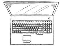 Γραπτή απεικόνιση ύφους doodle του lap-top στο άσπρο υπόβαθρο Στοκ φωτογραφία με δικαίωμα ελεύθερης χρήσης