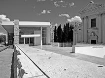 Γραπτή αρχιτεκτονική της Ρώμης φωτογραφίας: Πλατεία του Augusto Emperor, μουσείο pacis Ara και εκκλησία Στοκ Φωτογραφίες