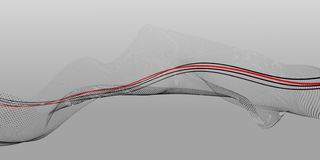 Γραπτή αφηρημένη σύνθεση των σημείων και των γραμμών με μια κόκκινη κεντρική γραμμή στοκ φωτογραφία