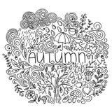 Γραπτή γραμμική εποχιακή κάρτα φθινοπώρου Η λεπτή γραμμή doodle πέφτει κάρτα με το φθινόπωρο λέξης, floral στοιχείο, βροχή, σύννε διανυσματική απεικόνιση