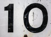 Γραπτή διατύπωση στο στενοχωρημένο κρατικό τυπογραφία αριθμό 10 οι Δέκα Στοκ εικόνα με δικαίωμα ελεύθερης χρήσης