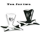 Γραπτή εγγραφή φλυτζανιών ζευγών τσαγιού σε ένα τσάι δίσκων για τον κ. σημαδιών δύο χεριών και της κας Bayard Cutting ελαφρύ διάν Στοκ φωτογραφία με δικαίωμα ελεύθερης χρήσης