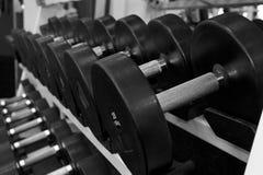 Γραπτή εικόνα ενός ραφιού των αλτήρων σε μια γυμναστική Στοκ Φωτογραφία