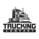 Γραπτή διανυσματική απεικόνιση λογότυπων επιχείρησης μεταφοράς με φορτηγό στοκ εικόνες με δικαίωμα ελεύθερης χρήσης