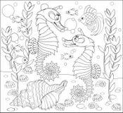 Γραπτή σελίδα για το χρωματισμό Σχέδιο φαντασίας της υποβρύχιας ζωής με δύο seahorses Στοκ Φωτογραφία